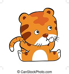Tiger in cartoon style