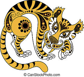 Tiger, isolated on white background. The vector art image is very well-organized in groups