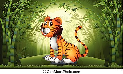 Tiger in the bamboo forest