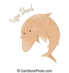 tiger, isolado, character., caricatura, shark.