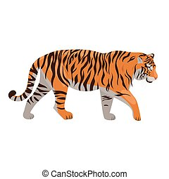 Tiger isolated on a white background. Vector graphics.