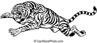 tiger jump black white