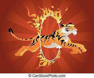 Tiger jumping through a hoop of fire.
