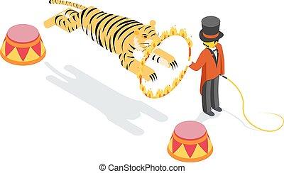 Tiger jumping through ring. Flat isometric 3d vector illustration