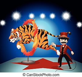 Tiger jumping through ring of fire