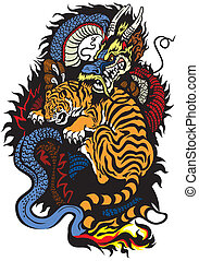 tiger, kämpfen, feuerdrachen