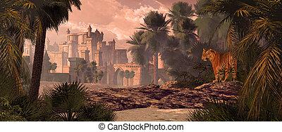 tiger, kasteel, bengalen