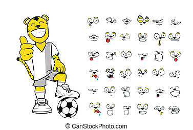 tiger kid soccer cartoon set1