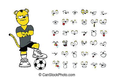 tiger kid soccer cartoon set2