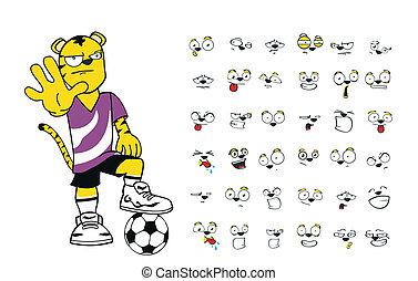 tiger kid soccer cartoon set4