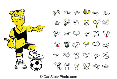 tiger kid soccer cartoon set5