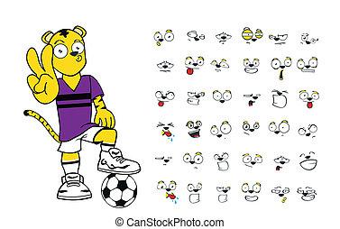 tiger kid soccer cartoon set7