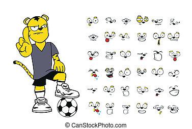 tiger kid soccer cartoon set8