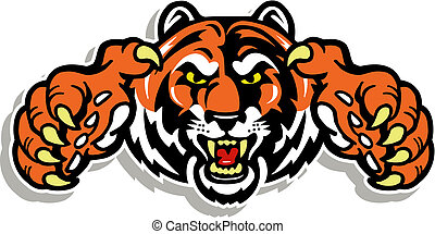 tiger, klauen, gesicht