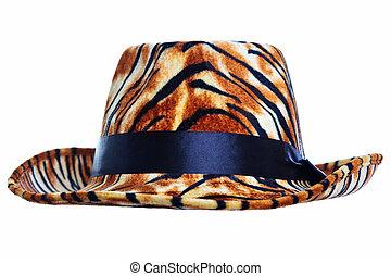 tiger, knippen, hoedje, uit