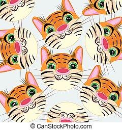 tiger- kopf, weißes