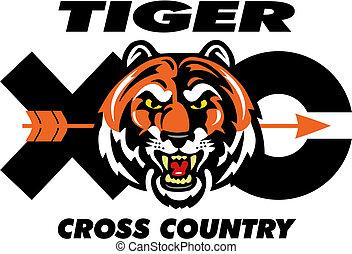 tiger, land, konstruktion, kors
