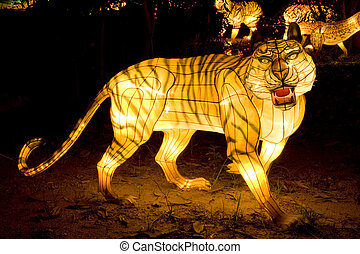 Tiger Lanterns - Image of lighted up tiger lanterns