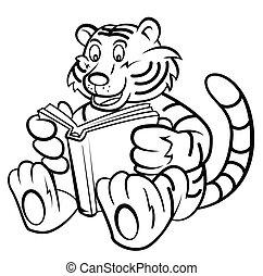 tiger, ler, livro, criança