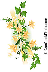 Tiger Lily and Ivy - Flower swag with tiger lilies, ivy...