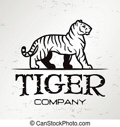 Tiger logo emblem template. Brand mascot symbol for business or shirt. Vector Vintage Design Element.