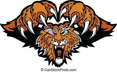 tiger, logo, mascot, grafik, pouncing