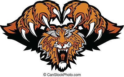 tiger, logo, mascotte, grafisch, pouncing
