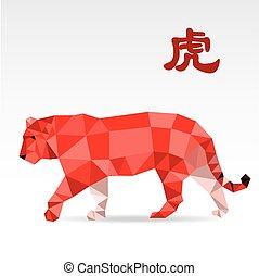 Tiger low polygon art