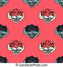 tiger, mønster, fin, seamless, zeseed