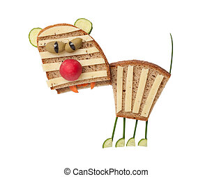 Tiger made of cheese and bread on white background