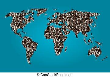 tiger, mapa, wypełniony, świat, próbka