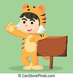 tiger, maschio, costume, bambino