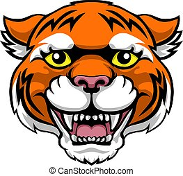 Tiger Mascot Cute Happy Cartoon Character