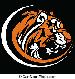 Graphic Team Mascot Vector Image of a Growling Tiger Head