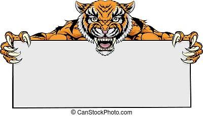Tiger mascot sign - A cartoon mean tiger sports mascot...