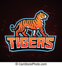 Tiger mascot vector. Sport logo design template. Football or baseball illustration. College league insignia, School team logotype on fire background.