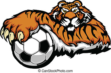 Graphic Mascot Vector Image of a Tiger with Paws on a Soccer Ball