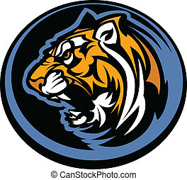 tiger, mascotte, grafisch