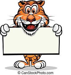 tiger, mascotte, schattig