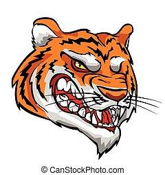 tiger, maskot, lag, design., etikett