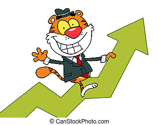 tiger, montando, seta, sucesso, feliz
