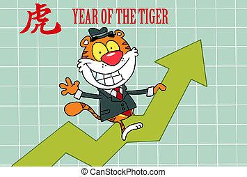 tiger, montando, sucesso, feliz