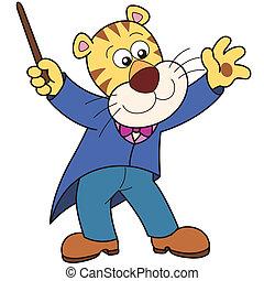 tiger, muziek, spotprent, dirigent