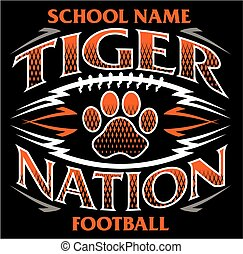 tiger nation football team design with paw print for school...