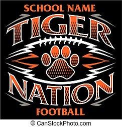 tiger, nemzet, labdarúgás