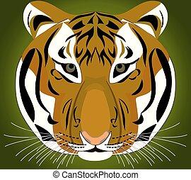 Tiger. Object isolated . - Tiger. Object isolated - closeup...