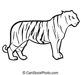 tiger, outline