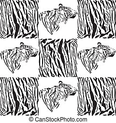 Tiger patterns for textiles and wal