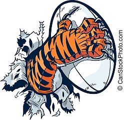 Tiger Paw Gripping Rugby Ball - Vector cartoon clip art...