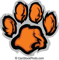 Tiger Paw Mascot Vector Illustratio - Tiger Paw Graphic...